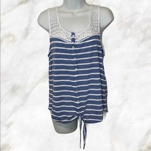 Striped Blue & White Tank Top With Crochet Details